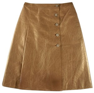 Chanel Leather Metallic Button Skirt