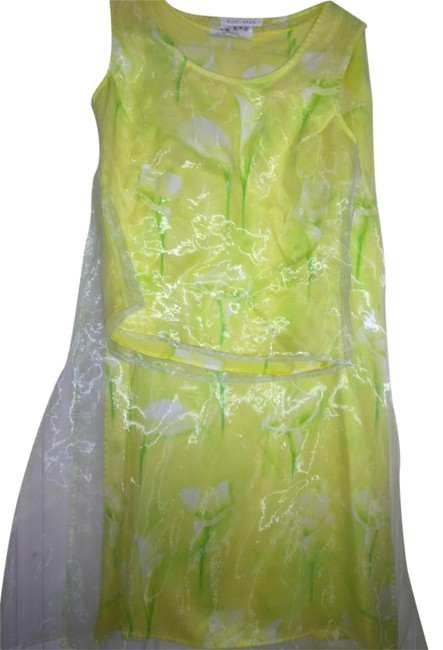 Item - Lime Green Yellow In Germany Gr 36 Lined Polyester Two Part Dress Skirt Suit Size 8 (M)