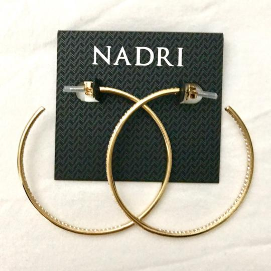 Nadri cubic zirconia pave large hop earrings Image 1