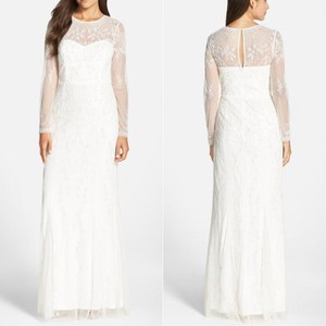 Adrianna Papell White Women's Beaded Lace Overlay Gown Feminine Wedding Dress Size 8 (M)
