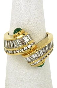 Charles Krypell Unique 3.00ct Diamond & Emerald 18k Yellow Gold Band Ring Size 6.75