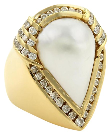 Charles Krypell 2ct Diamonds Mabe Pearl 18k Gold Large Cocktail Ring Size 8 Image 0