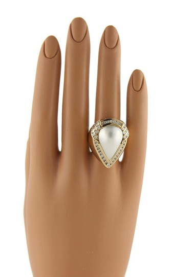 Charles Krypell 2ct Diamonds Mabe Pearl 18k Gold Large Cocktail Ring Size 8 Image 2