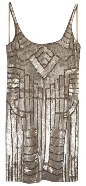 Item - Silver and Ivory Sleeveless Geo-beaded Sequin Sheath Short Cocktail Dress Size 4 (S)