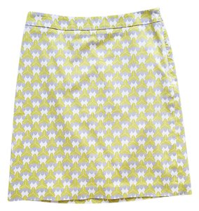 Banana Republic Print Pencil Bright Cotton Preppy Skirt Green