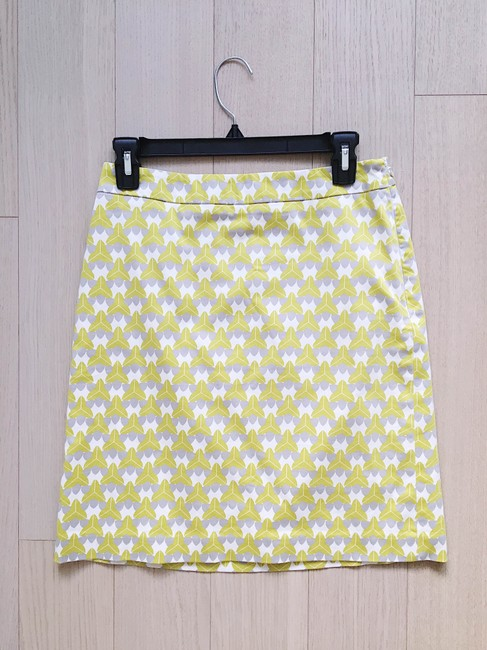 Banana Republic Print Pencil Bright Cotton Preppy Skirt Green Image 1