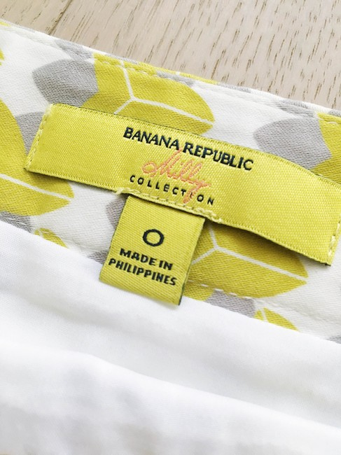 Banana Republic Print Pencil Bright Cotton Preppy Skirt Green Image 2