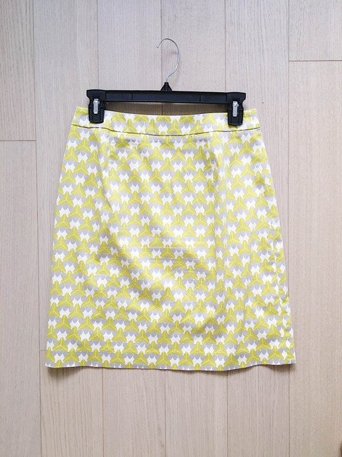 Banana Republic Print Pencil Bright Cotton Preppy Skirt Green Image 3