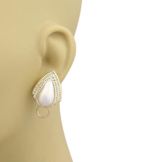 Charles Krypell 2.00ct Diamonds Mabe Pearl Pear Shape 18k Gold Post Clip Earrings Image 1