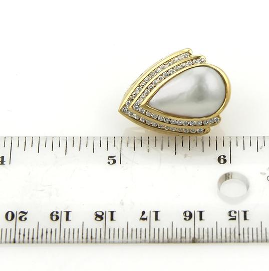 Charles Krypell 2.00ct Diamonds Mabe Pearl Pear Shape 18k Gold Post Clip Earrings Image 2