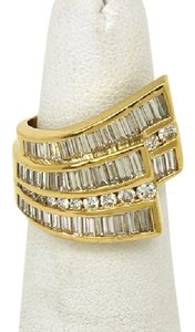 Charles Krypell 2.70tcw Baguette & Round Cut Diamond 18k Yellow Gold Cocktail Ring