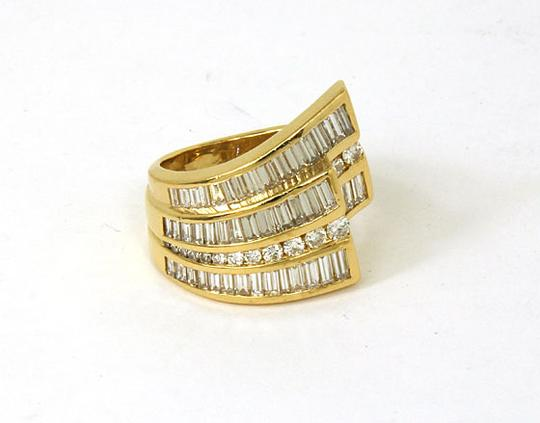 Charles Krypell 2.70tcw Baguette & Round Cut Diamond 18k Yellow Gold Cocktail Ring Image 1