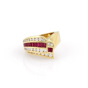 Charles Krypell 2.15tcw Diamonds & Baguette Ruby 18k Yellow Gold Cocktail Ring