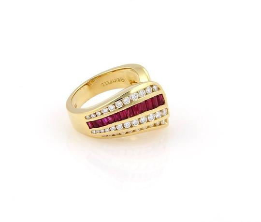 Charles Krypell 2.15tcw Diamonds & Baguette Ruby 18k Yellow Gold Cocktail Ring Image 1