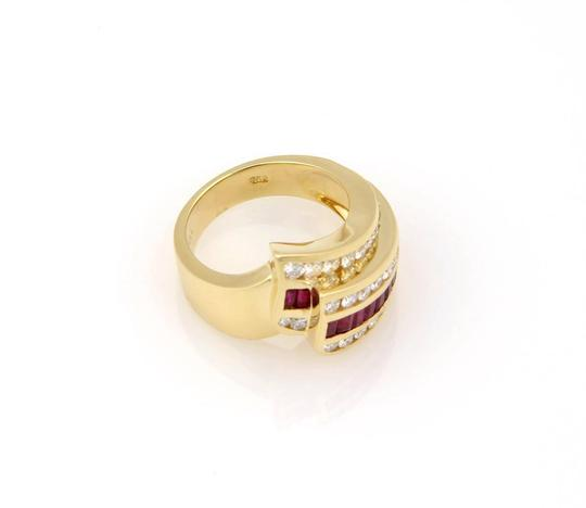 Charles Krypell 2.15tcw Diamonds & Baguette Ruby 18k Yellow Gold Cocktail Ring Image 2