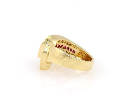 Charles Krypell 2.15tcw Diamonds & Baguette Ruby 18k Yellow Gold Cocktail Ring Image 3