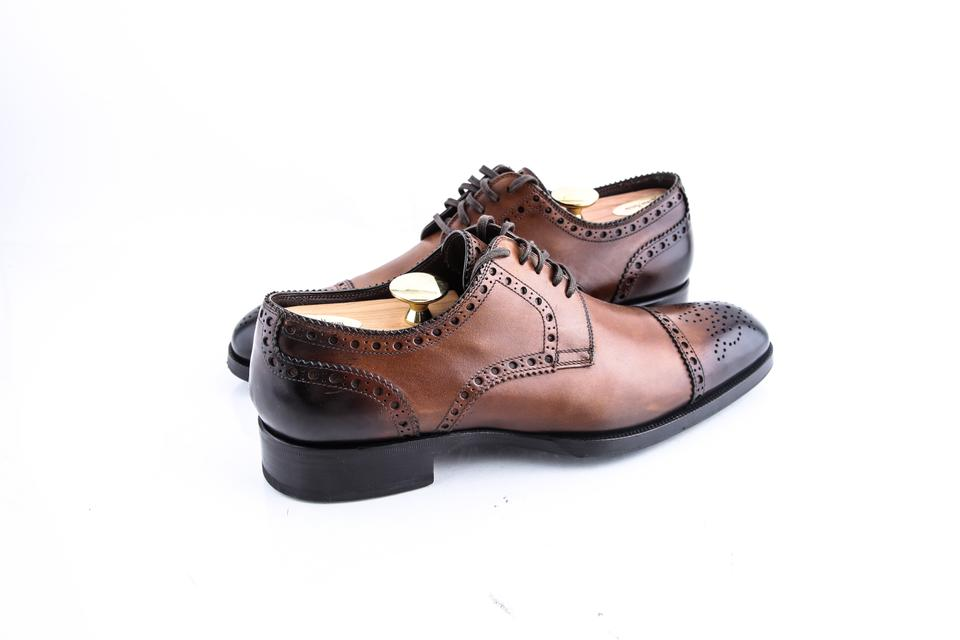 8bdadeeb6cb2 Tom Ford Brown Edward Med-cap Wing-tip Derby Shoes Image 0 ...