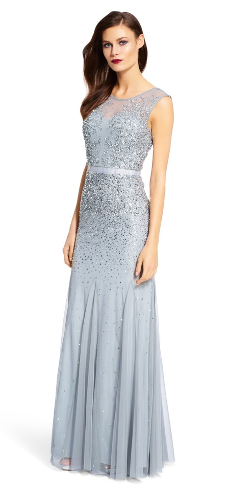 3281fc2eff2 Adrianna Papell Blue Mist Beaded Gown with Illusion Neck Long Formal ...
