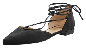 Stuart Weitzman D'orsay Suede Pointed Toe Lace Up Black Flats