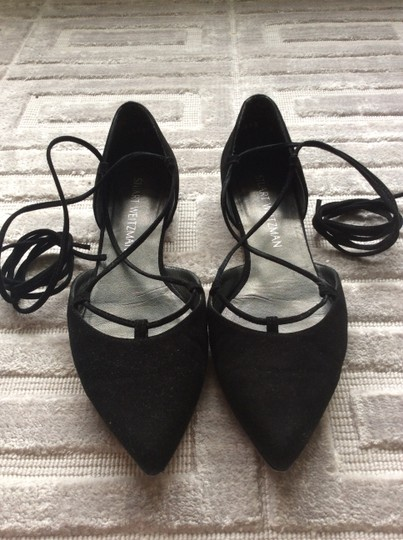 Stuart Weitzman D'orsay Suede Pointed Toe Lace Up Black Flats Image 2