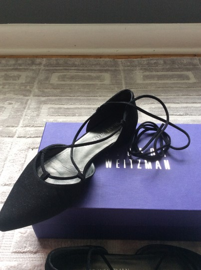 Stuart Weitzman D'orsay Suede Pointed Toe Lace Up Black Flats Image 4