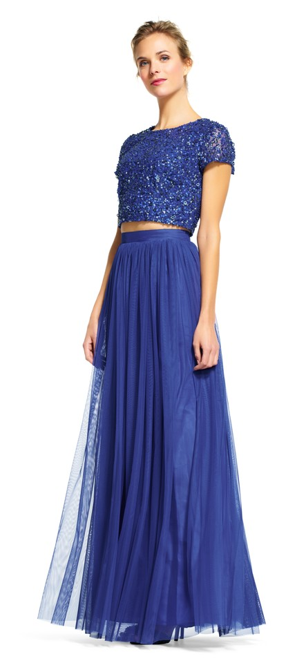 e1e45994876 Adrianna Papell Neptune/Blue Sequin Crop Top and Tulle Skirt Long ...