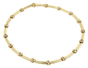 Tiffany & Co. Love Knot Grooved Link 18k Yellow Gold Choker Necklace