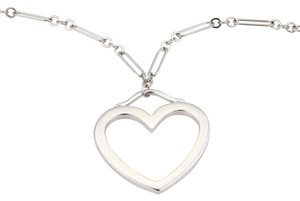 Tiffany & Co. 18k White Gold Large Open Heart Pendant & Chain Necklace