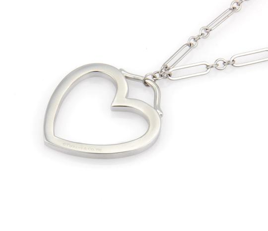 Tiffany & Co. 18k White Gold Large Open Heart Pendant & Chain Necklace Image 1
