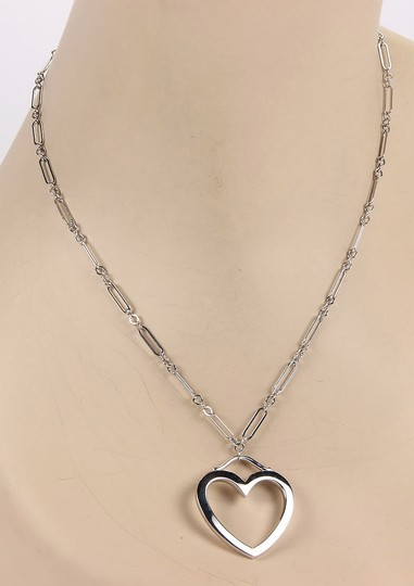 Tiffany & Co. 18k White Gold Large Open Heart Pendant & Chain Necklace Image 2