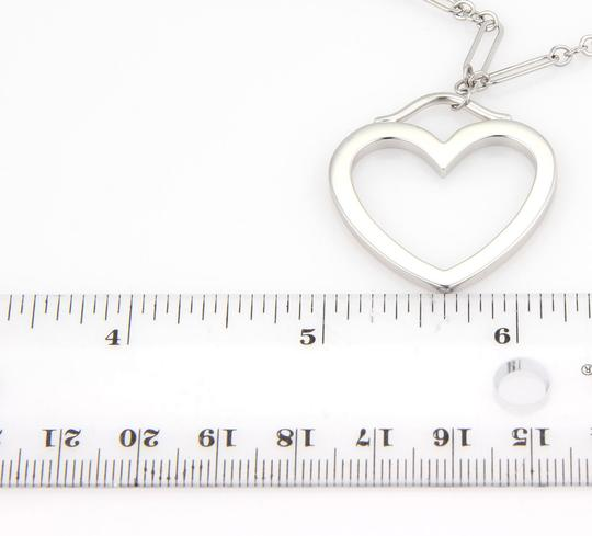 Tiffany & Co. 18k White Gold Large Open Heart Pendant & Chain Necklace Image 3