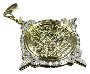 Jewelry Unlimited Unisex Mayan God Genuine Diamond Pendant Charm 0.75Ct 2.4 Inches