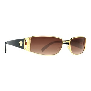 Versace Versace VE Gold/Brown Gradient Rectangular Wrap Sunglasses