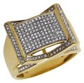 Jewelry Unlimited Men's Rectangle Frame Diamond Statement Engagement Ring 0.75ct Image 0