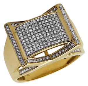 Jewelry Unlimited Men's Rectangle Frame Diamond Statement Engagement Ring 0.75ct