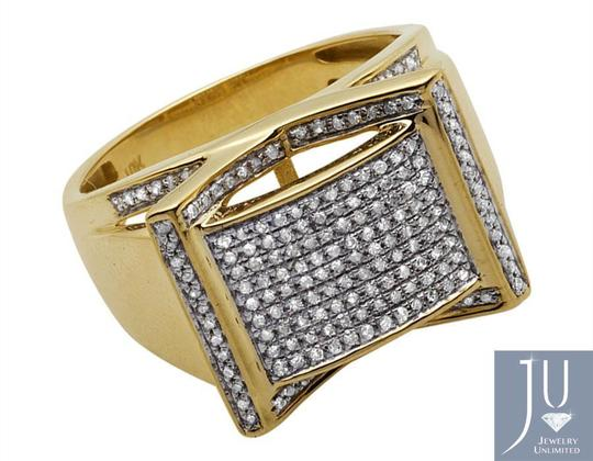 Jewelry Unlimited Men's Rectangle Frame Diamond Statement Engagement Ring 0.75ct Image 1