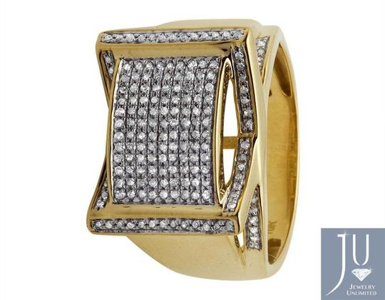 Jewelry Unlimited Men's Rectangle Frame Diamond Statement Engagement Ring 0.75ct Image 4
