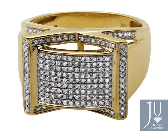 Jewelry Unlimited Men's Rectangle Frame Diamond Statement Engagement Ring 0.75ct Image 5
