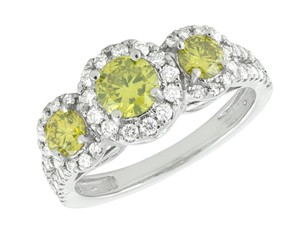 Jewelry Unlimited Treated Canary Halo Cluster Diamond Split Shank Bridal Ring 1.7ct