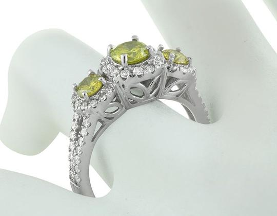 Jewelry Unlimited Treated Canary Halo Cluster Diamond Split Shank Bridal Ring 1.7ct Image 1