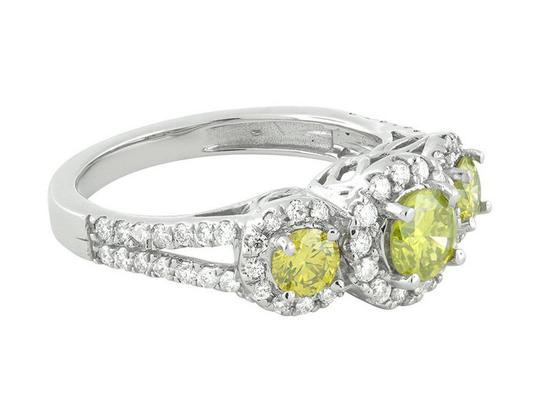 Jewelry Unlimited Treated Canary Halo Cluster Diamond Split Shank Bridal Ring 1.7ct Image 2
