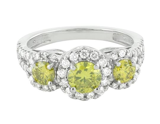 Jewelry Unlimited Treated Canary Halo Cluster Diamond Split Shank Bridal Ring 1.7ct Image 3