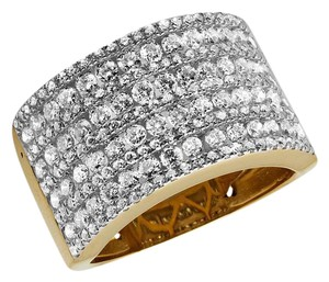 Jewelry Unlimited XL 14K Yellow Gold Multi Rows Genuine Diamond Engagement Ring 1.0ct