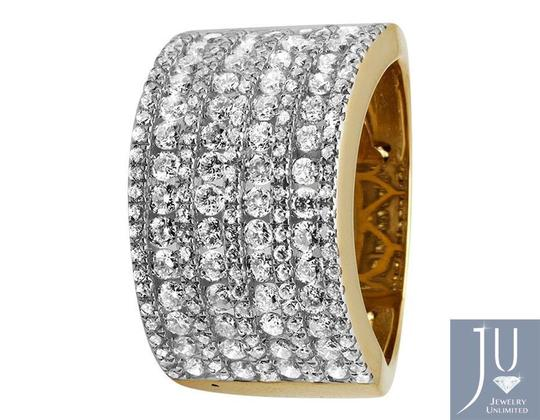 Jewelry Unlimited XL 14K Yellow Gold Multi Rows Genuine Diamond Engagement Ring 1.0ct Image 3