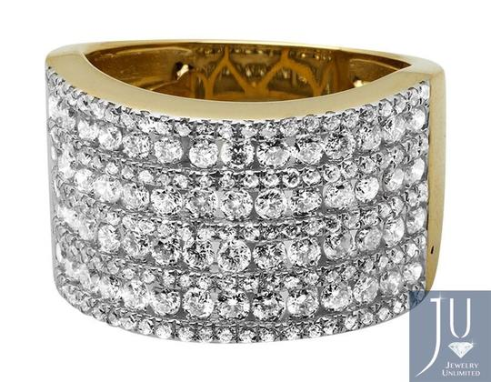 Jewelry Unlimited XL 14K Yellow Gold Multi Rows Genuine Diamond Engagement Ring 1.0ct Image 4
