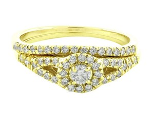 Jewelry Unlimited Halo Cluster Real Diamond Split Shank Engagement Ring Set 0.60ct