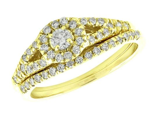 Jewelry Unlimited Halo Cluster Real Diamond Split Shank Engagement Ring Set 0.60ct Image 1