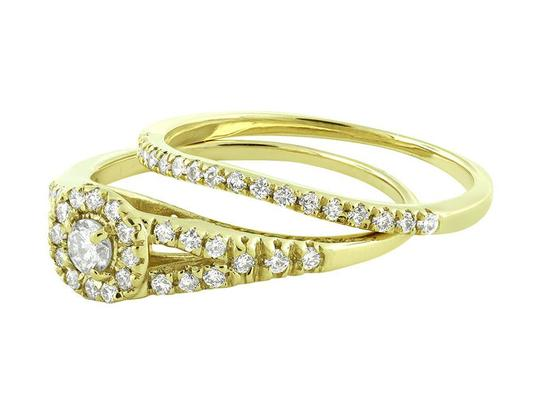 Jewelry Unlimited Halo Cluster Real Diamond Split Shank Engagement Ring Set 0.60ct Image 2