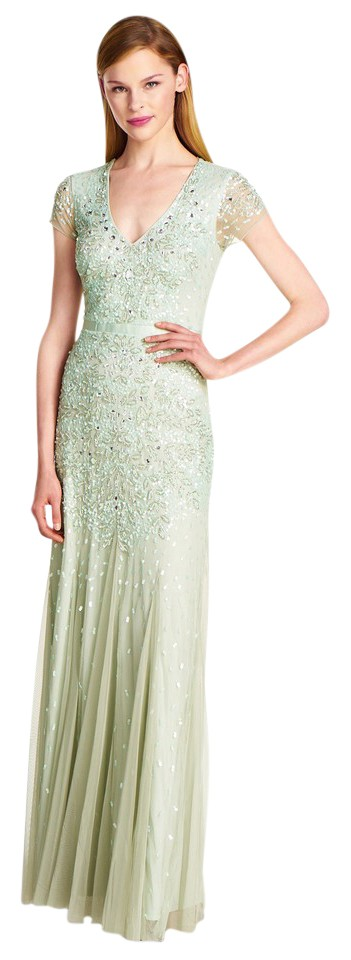 Adrianna Papell Mint Green Beaded Mesh Cap Sleeve Gown Long Formal ...