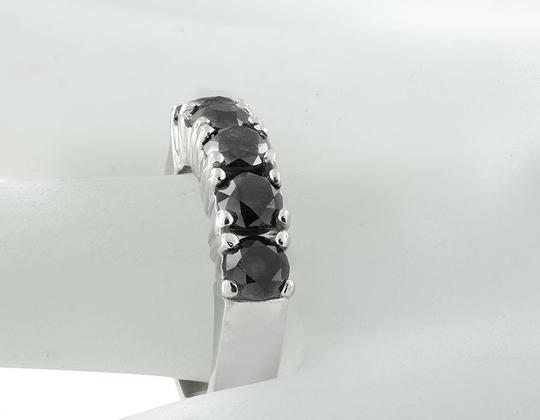 Jewelry Unlimited 5 Stone Shared Prong Treated Black Real Diamond Ring Band 2.50Ct Image 2